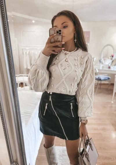 Czarna Skóropodobna Spódnica z zamkiem CANDY