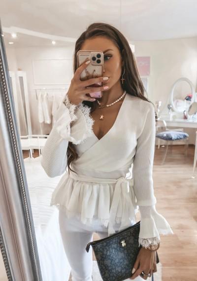 Biały Lekki Sweterek Bluzka FRANKY WHITE