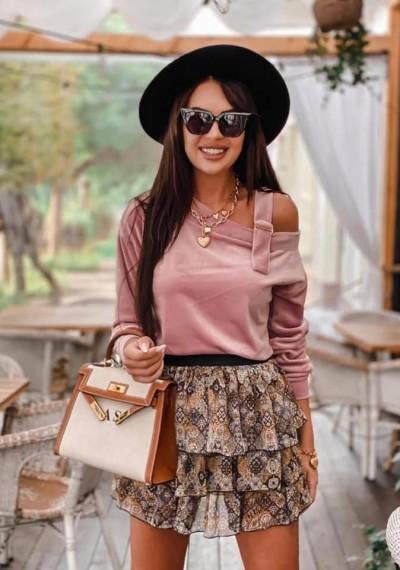 Różowa Welurowa Bluzka SASHA ROSE