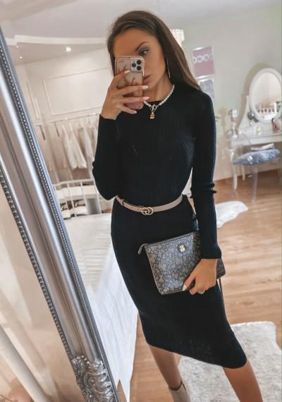 Czarna Dzianinowa Sukienka SKYLAR BLACK