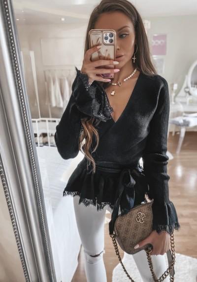Czarny Lekki Sweterek Bluzka FRANKY BLACK