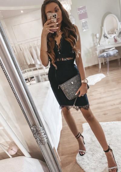 Czarna Dopasowana Ołówkowa Sukienka ROMA BLACK 1