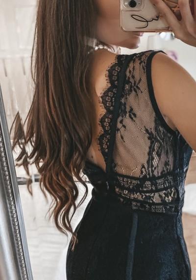 Czarna Dopasowana Ołówkowa Sukienka ROMA BLACK 2