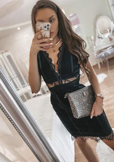 Czarna Dopasowana Ołówkowa Sukienka ROMA BLACK 3