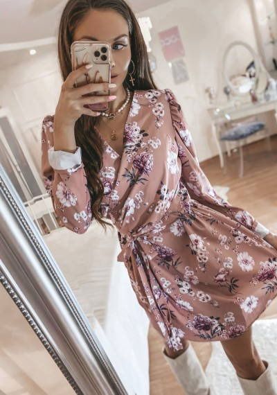 Pudrowo różowa Sukienka w kwiaty FELICY ROSE