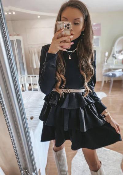 Czarna Sukienka ze stójką VIOLET BLACK