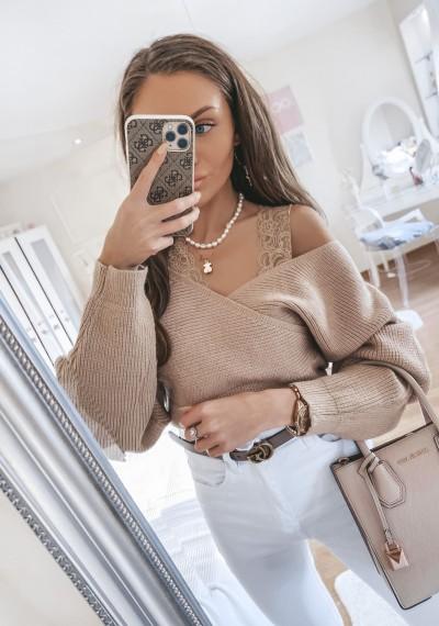 Sweter zakładany z koronką ALEX brąz