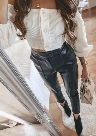 Skórkowe spodnie WILLY Czarne 1