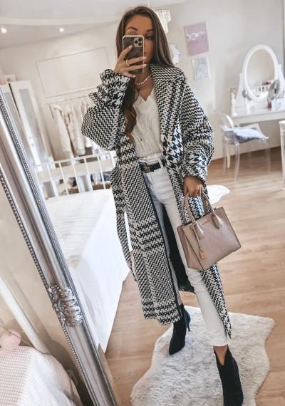 Długi płaszcz w pepitkę LEONARD