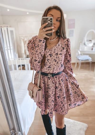 Różowa Sukienka w kwiaty CLARICE
