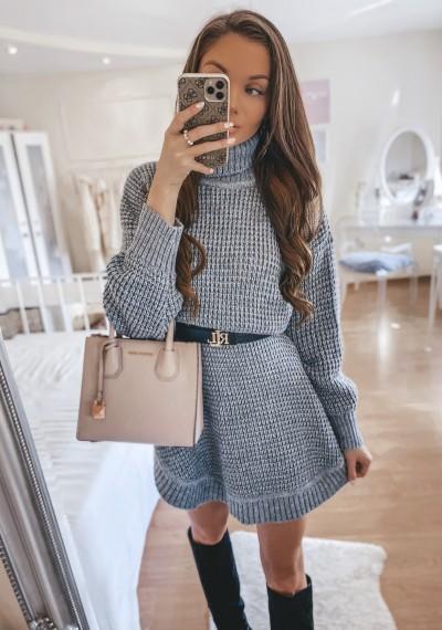 Sukienka swetrowa FRANCO z golfem SZARA