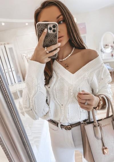 Sweter z perełkami ALLIE biel