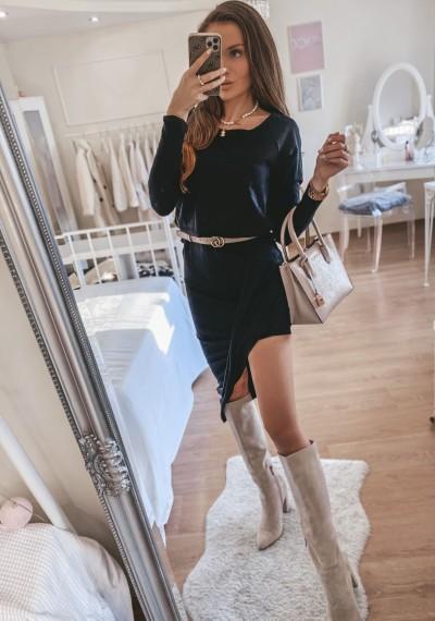 Sukienka asymetryczna czarna ORIANA