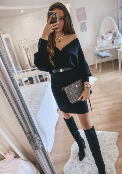 Sukienka dzianina zakładana MILEY czarna