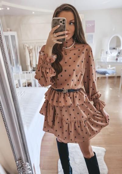 Sukienka CAROLINE w groszki Beżowa
