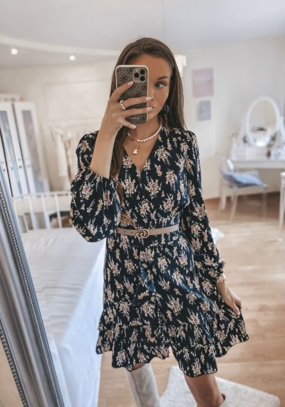 Sukienka GRETA czarna w kwiatowy print