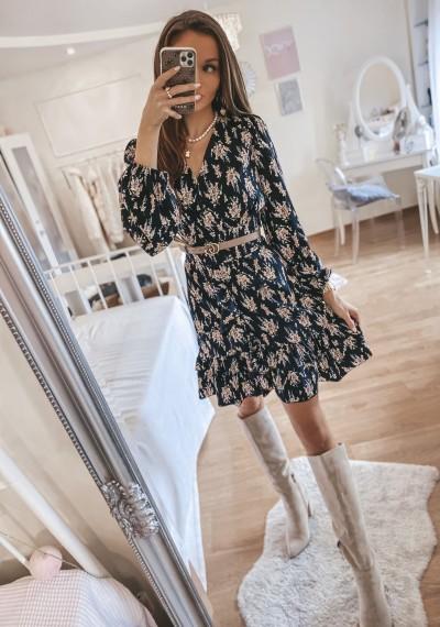 Sukienka GRETA czarna w kwiatowy print 1