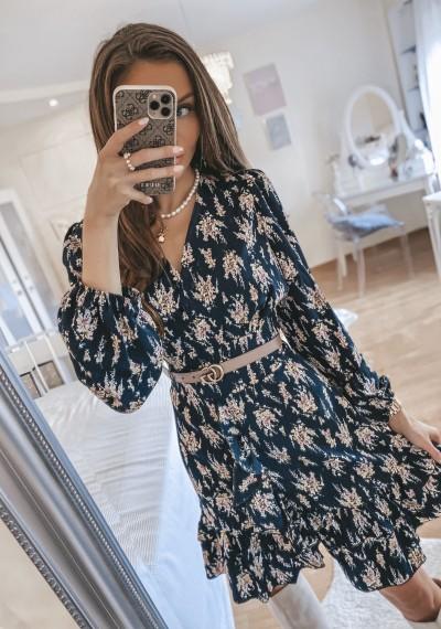 Sukienka GRETA czarna w kwiatowy print 2