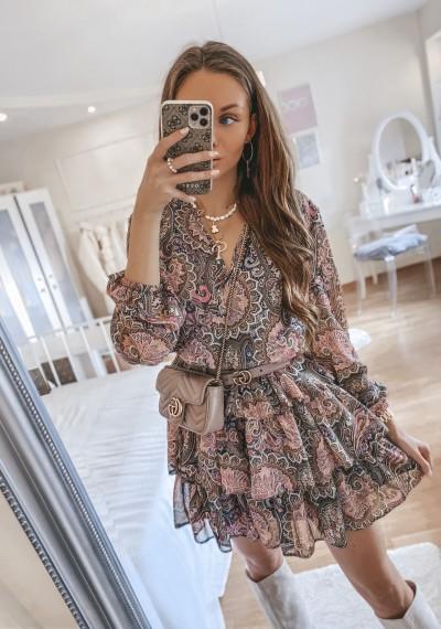 Sukienka PERLA zakładana falbanki w print