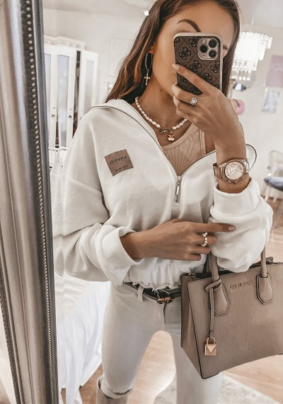 Bluza ELISA biała z zamkiem 1