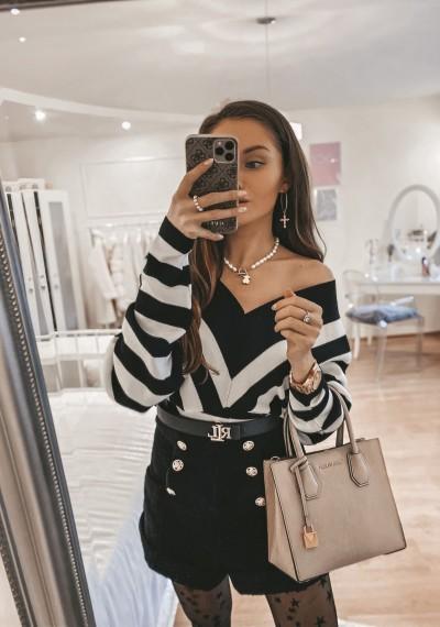 Sweter KATY krótki w paski biało-czarny