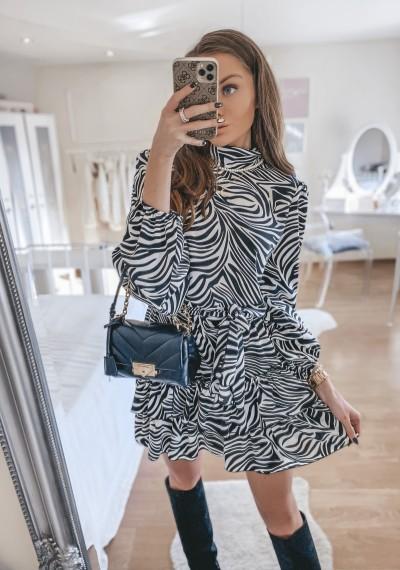 Sukienka MARGOT we wzór zebry BIEL-CZERŃ