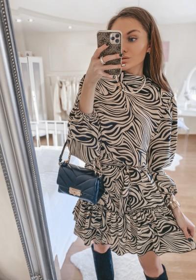 Sukienka MARGOT we wzór zebry BRĄZ-CZERŃ
