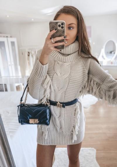 Sweter PARIS z golfem frędzle BEŻ