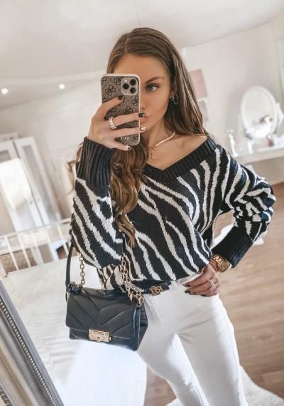 Sweter PERCY we wzór zebry