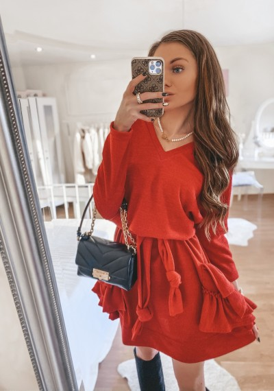 Sukienka dzianina wiązana CLOVER Czerwień