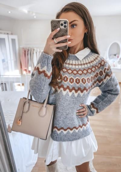 Sweter SOPHIE we wzory SZARY