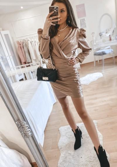 Sukienka SOLENTO atłasowa zakładana brąz 1