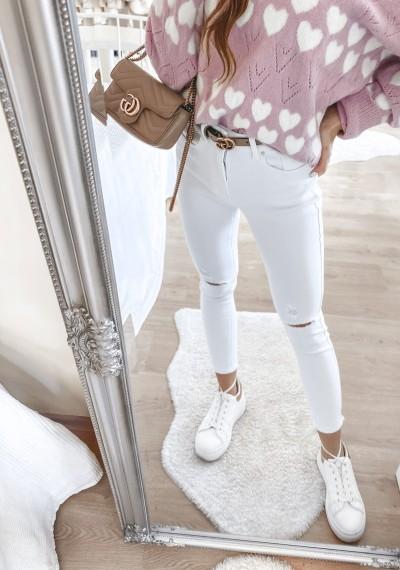 Białe jeasnowe spodnie MAYA z dziurami