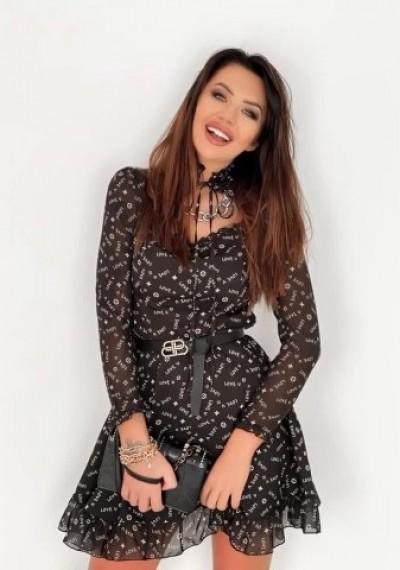 Sukienka RONNIE print wiązana przy szyi CZARNA