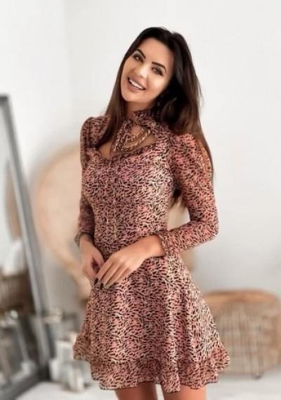 Sukienka RONNIE print wiązana przy szyi BRZOSKWIONIA