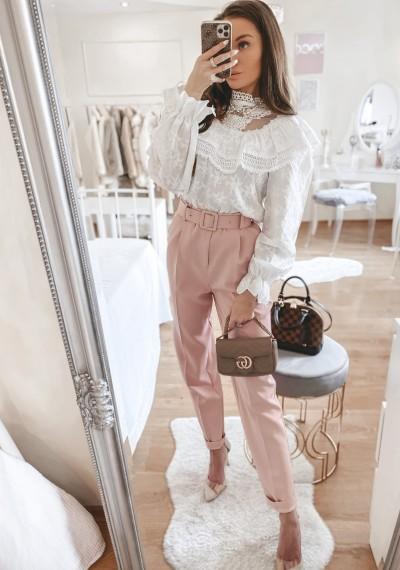 Spodnie pudrowe DAREN z paskiem