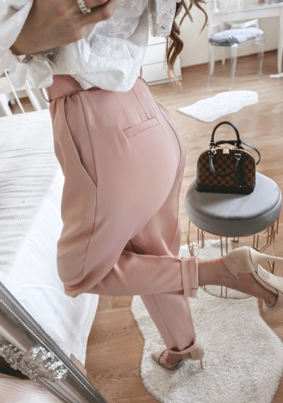 Spodnie pudrowe DAREN z paskiem 1