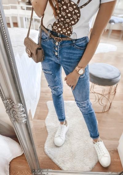 Spodnie jeansowe COLLY z rzędem guzików i dziurami