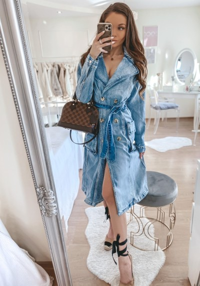 Sukienka jeansowa GWEN midi z guzikami