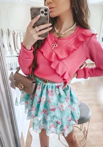 Sweter MILO z falbankami różowy 2