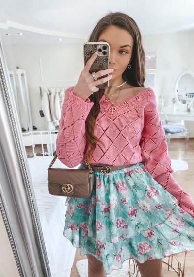 Sweter CANDICE różowy w ażurowy wzór