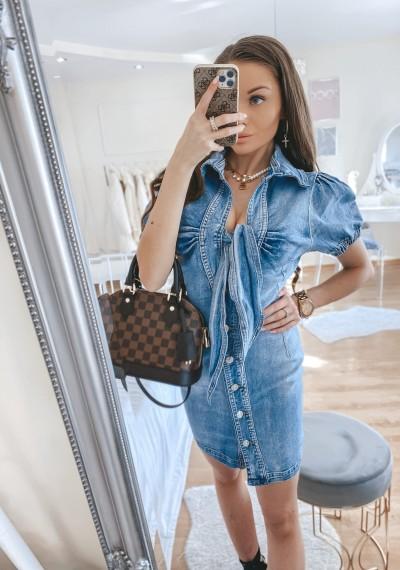 Sukienka jeansowa SUZAN z wiązaniem z przodu