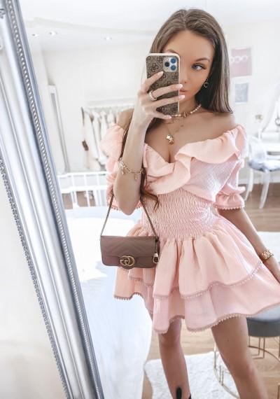 Sukienka MIA ze ściągaczem w pasie RÓŻ