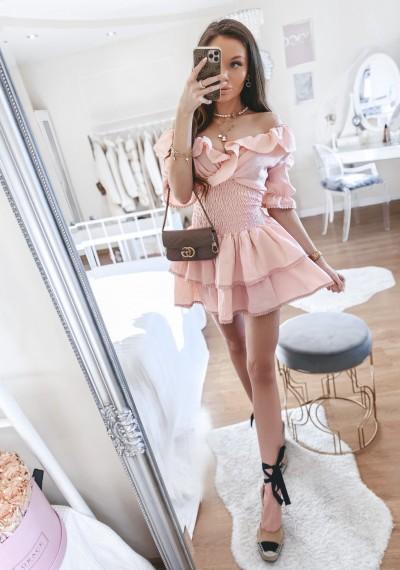 Sukienka MIA ze ściągaczem w pasie RÓŻ 2