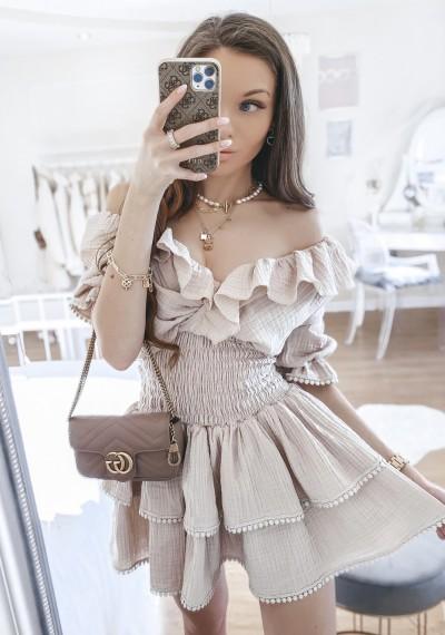 Sukienka MIA ze ściągaczem w pasie BEŻ