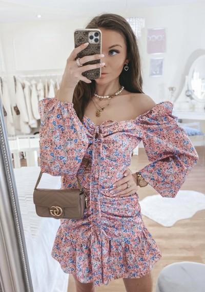 Sukienka LENNY w kwiatowy print PINK
