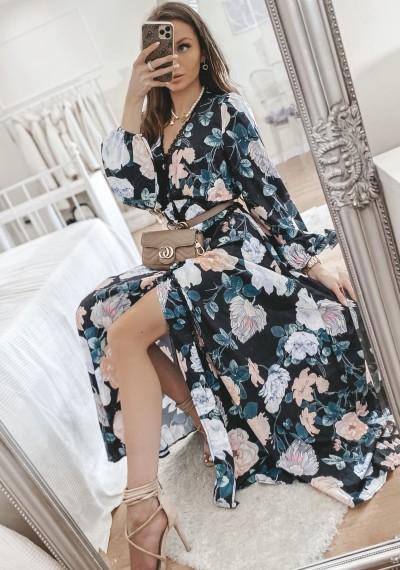 Sukienka MEGGY maxi w kwiaty CZARNA