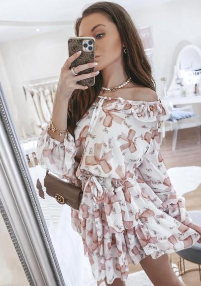 Sukienka CLEO kwiatowy print falbanki LIGHT