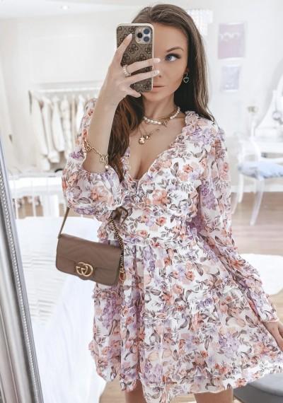Sukienka MARTHA kwiatowy print falbany BIEL
