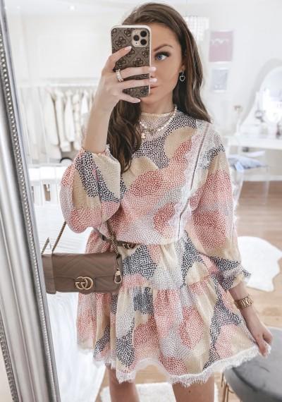 Sukienka MARSILL z gumką w pasie z elementami koronki PRINT